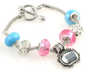 1pc WOMENS handmade silver metal charm cuff bangle bracelet fit European beads-C