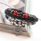 TREE OF LIFE Fashion Infinity Leather Charm Bracelet Silver lots Beads Style-EE