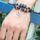 LIPS Jewelry Fashion Infinity Leather Charm Bracelet Silver lots Beads Style-H