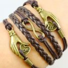 NEW Hot FASHION Infinity LOVE YOU Anchor Leather Cute Charm Bracelet Bronze-N