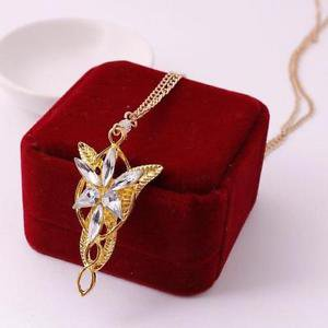 Lord of the Rings Movie Elves Princess Arwen EVENSTAR Dragon GOLDEN Necklace-O