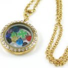 GREEN CLOVER Living Memory Float Charm round Clear- crystal Locket Necklace-D