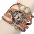 CLOCK FREEDOM NEW HOT FASHION Infinity Love Leather Charm Bracelet Bronze GIFT-O