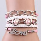 DOUBLE HEART WITH PEARL NEW Hot FASHION Infinity Love Leather Charm Bracelet-O