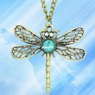 Bronze Dragonfly Nature Stone Pendant Long Necklace Chain-Q