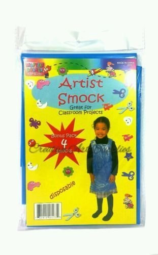 4-Piece Disposable Plastic Kids Children Artist Painting Smock Apron Cover