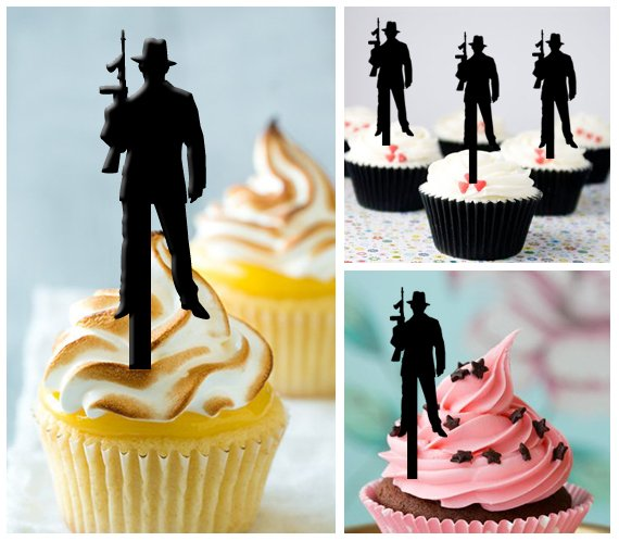 Cp199 cupcake toppers gangster Package : 10 pcs