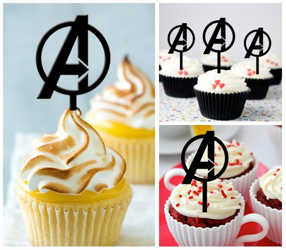 Cp309 cupcake toppers avengers logo Package : 10 pcs