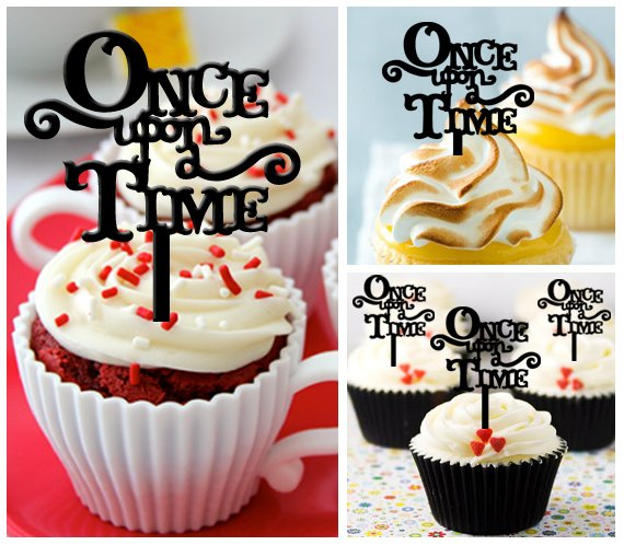 Cp310 cupcake toppers once upon a time Package : 10 pcs