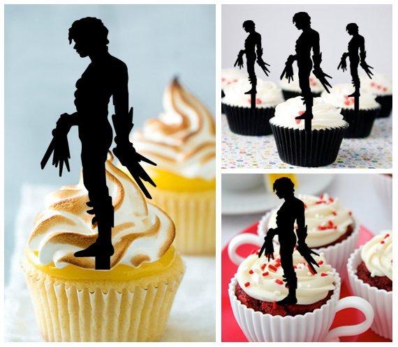 Mo11 cupcake toppers edward scissorhands Package : 10 pcs