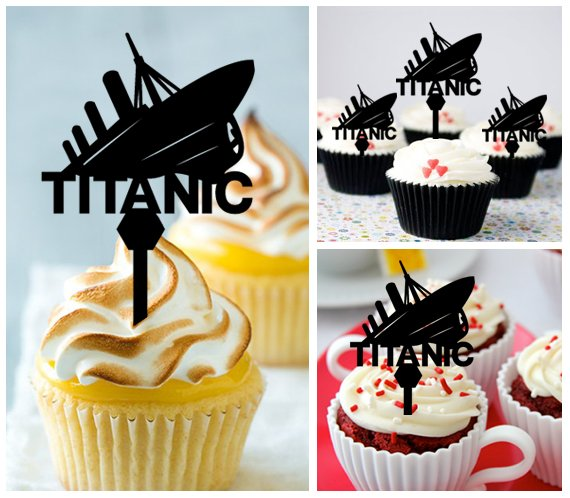 Mo12 cupcake toppers TITANIC Package : 10 pcs
