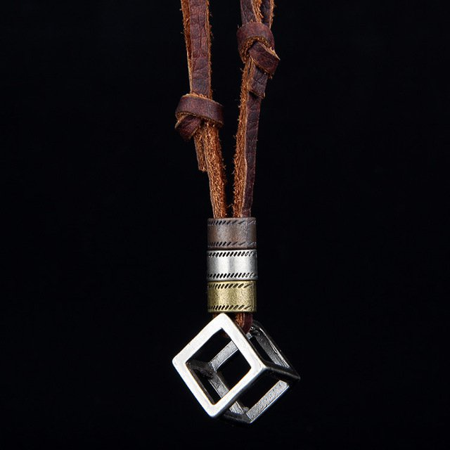 Cube Surf Necklace Boho Leather Pendant Ethnic Jewelry