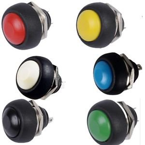 6Pcs Mini 12mm Waterproof Momentary ON/OFF Push Button Round Switch