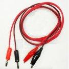 2 x Red and black Banana plug to alligator clip line Test line