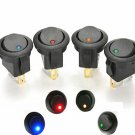 4Pcs LED Dot Light Car Auto Boat 2Pin Round Rocker ON/OFF Toggle SPST Switch 12V
