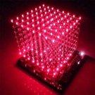 1PCS 3D LightSquared DIY Kit 8x8x8 3mm LED Cube Red Ray LED NEW