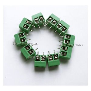 10 pcs 2P Green Plug-in Screw Terminal Block Connector 5.08mm Pitch Through Hole