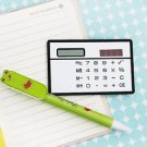 8 Digits Ultra Thin Mini Slim Credit Card Solar Power Pocket Calculator White