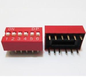 20Pcs Slide Type Switch Module 2.54mm 6-Bit 6 Position Way DIP Red Pitch