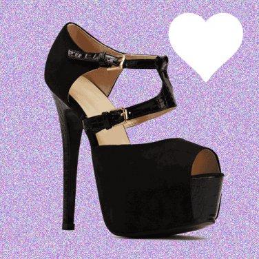 Textured Front Strap Black Suedette Heels UK 5 � FREE Worldwide Shipping �