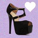Textured Front Strap Black Suedette Heels UK 6 ♡ FREE Worldwide Shipping ♡