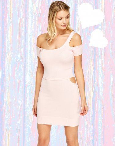 Cut Out Bodycon Mini Baby Pink Dress O/S � FREE Worldwide Shipping �