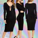Bodycon Black Long Sleeve Plunge Dress Size Large UK 10-12 ♡ FREE Worldwide Shipping ♡