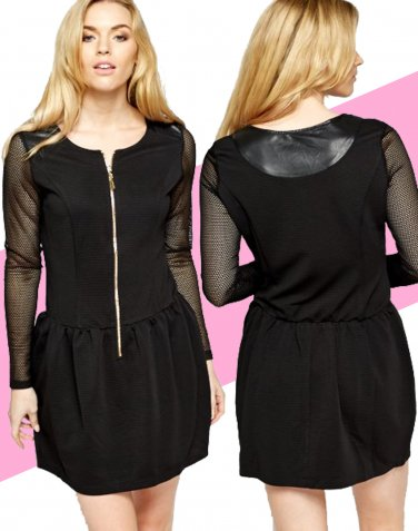 Perforated Sleeve Black Skater Dress UK Large 10-12  � FREE Worldwide Shipping �