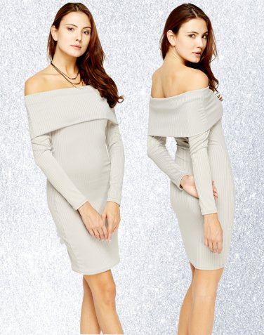Ribbed Overlay Off Shoulder Dress Small UK 8 � FREE Worldwide Shipping �