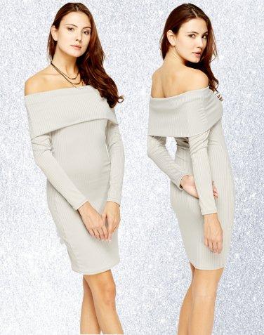 Ribbed Overlay Off Shoulder Dress Medium UK 10 � FREE Worldwide Shipping �