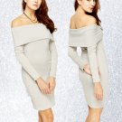 Ribbed Overlay Off Shoulder Dress Large UK 12 ♡ FREE Worldwide Shipping ♡