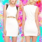 Cut Out Criss Cross Chain Waist White Dress Large UK 10-12 ♡ FREE Worldwide Shipping ♡