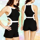 Cut Out Black & White Block Playsuit Large UK 12 ♡ FREE Worldwide Shipping ♡