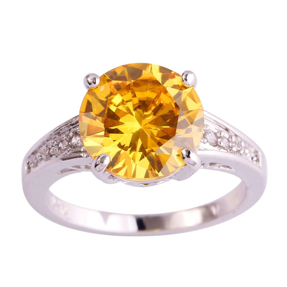 Fashion Gorgeous Jewelry Round Gold Color AAA CZ Ring Size 7