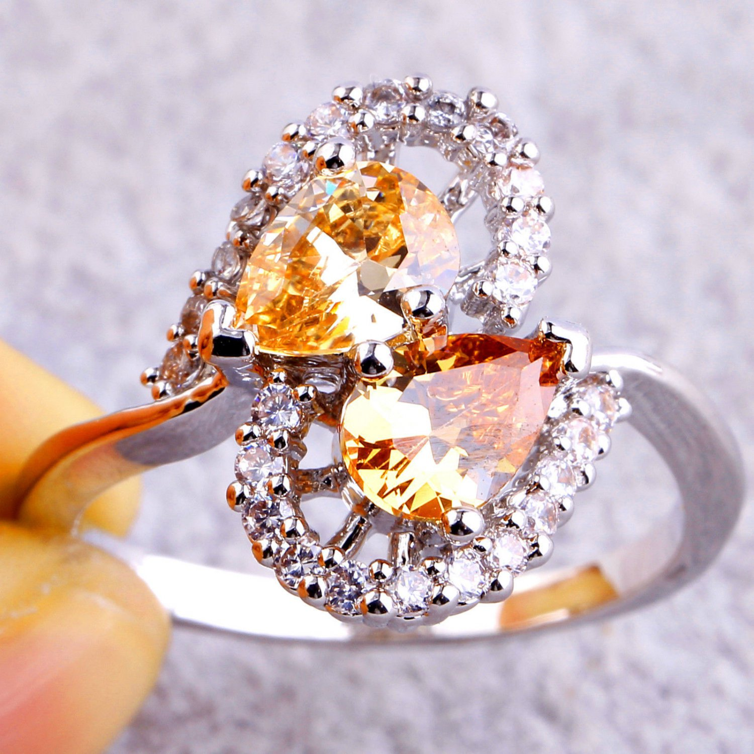 Cocktail Jewelry Water-Drop Morganite & White CZ Ring Size 8      New