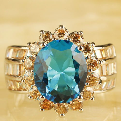 Unsiex Oval & Round Cut Blue Ring Size 10