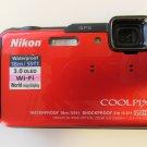 BONUS CANVAS BAG + 16GB CARD/DISPLAY NIKON COOLPIX AW100 WI FI WATERPROOF/GPS 16MP-Orange