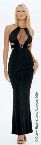 Slinky Sheer Black Halter Dress -- 8629
