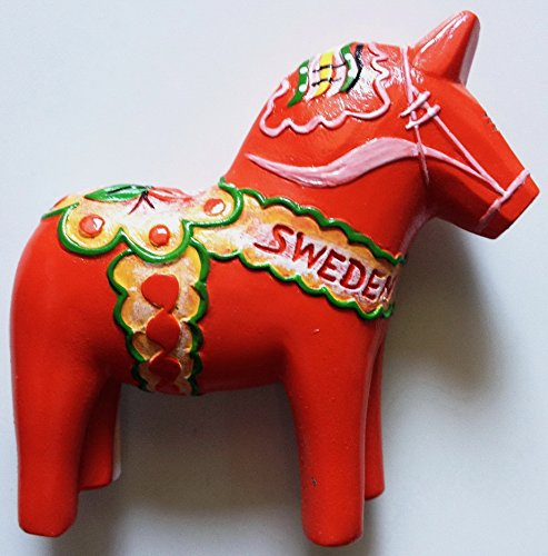 Red Swedish Dala Horse Sweden High Quality Resin 3D fridge magnet
