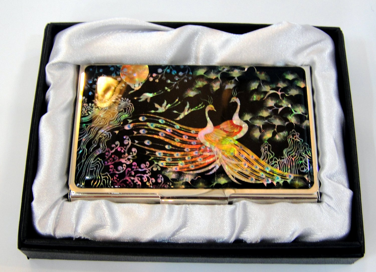 oriental lacquered  beautiful mother of pearl business card holder oriental mask a20