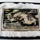 oriental lacquered  beautiful mother of pearl business card holder oriental mask a21