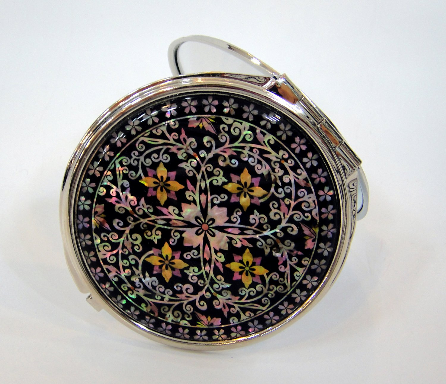 oriental mother of pearl  lacquered pretty hand cosmetic mirror b6