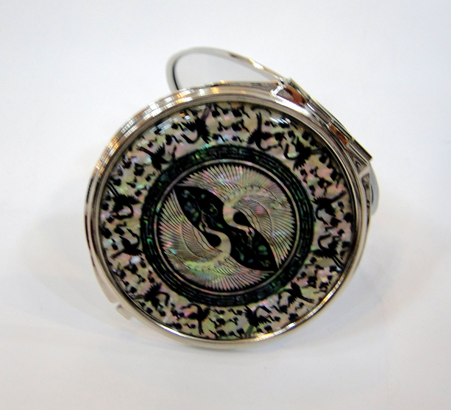 mother of pearl lacquered pretty cosmetic hand mirror b10