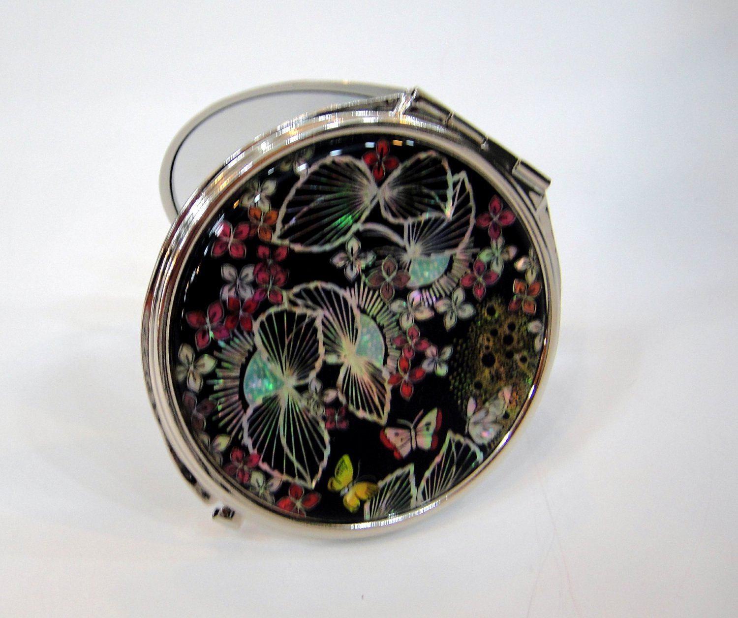 mother of pearl lacquered pretty cosmetic hand mirror b13