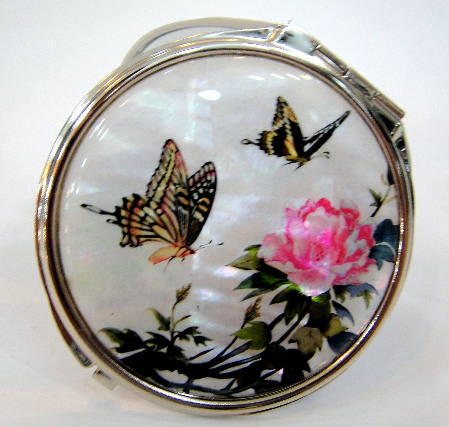 mother of pearl lacquered pretty cosmetic hand mirror b18