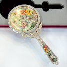 cosmetic long hand mirror mother of pearl lacquered crystal cubic c1