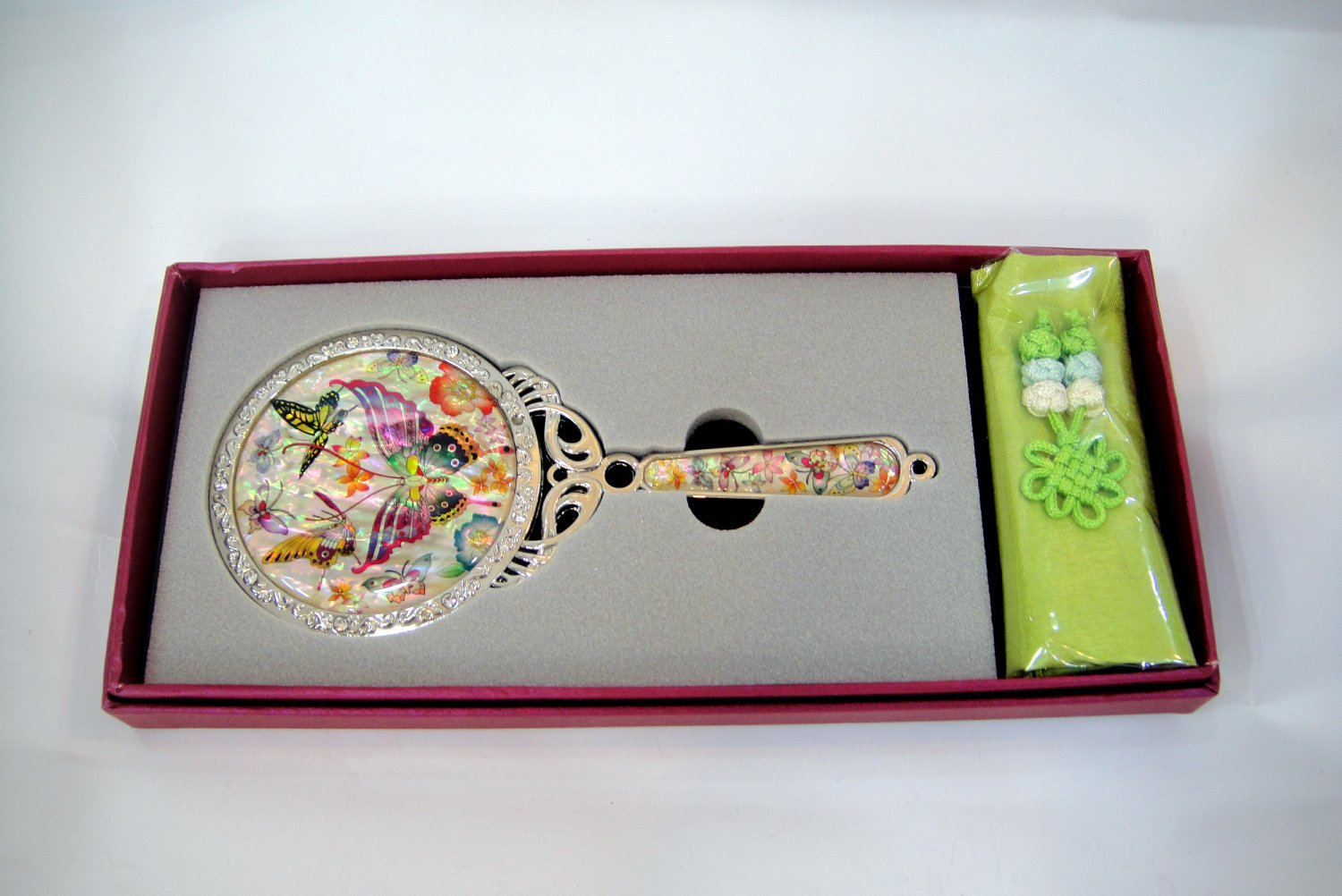 cosmetic long hand mirror mother of pearl lacquered crystal cubic c4