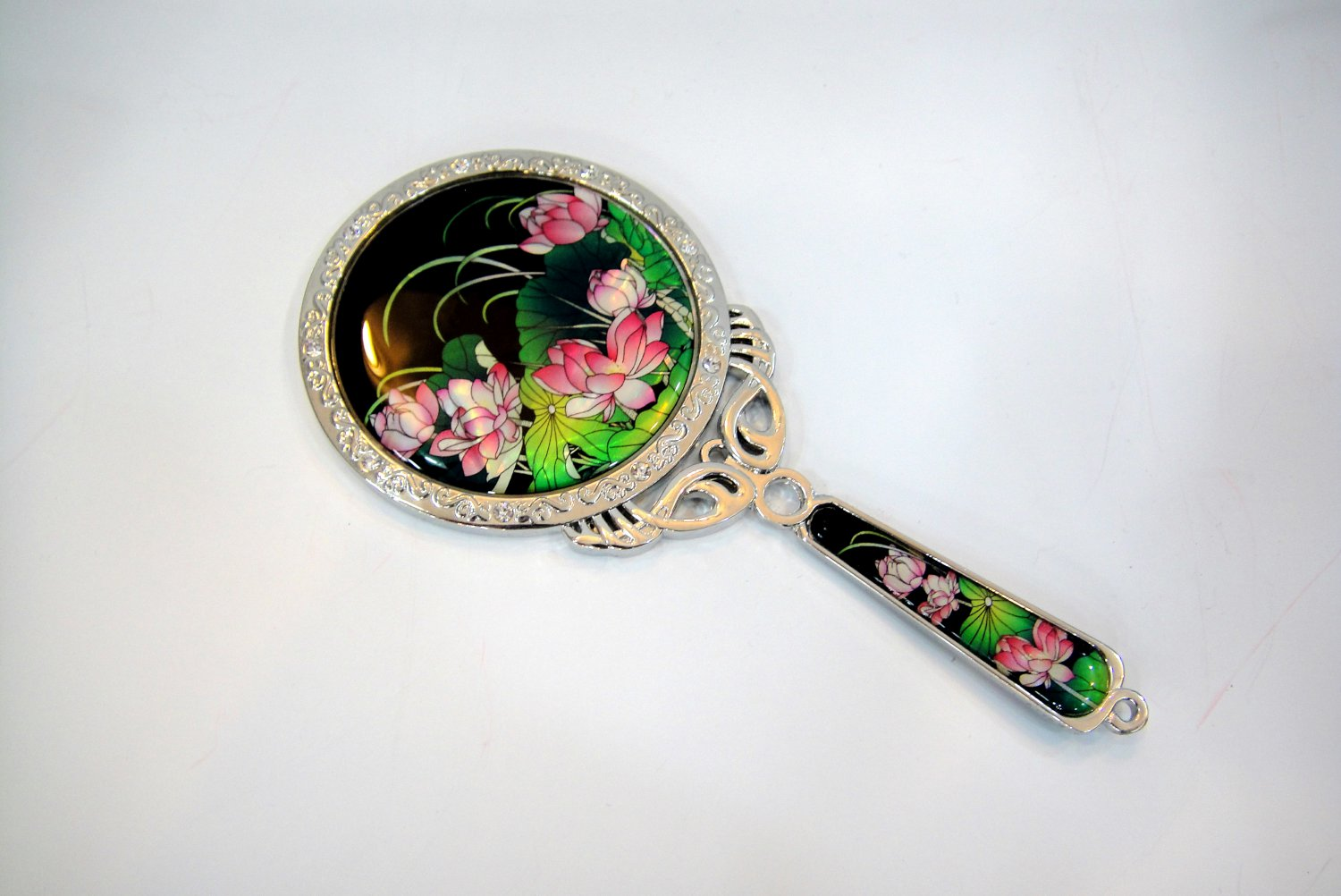 cosmetic long hand mirror mother of pearl lacquered crystal cubic c5
