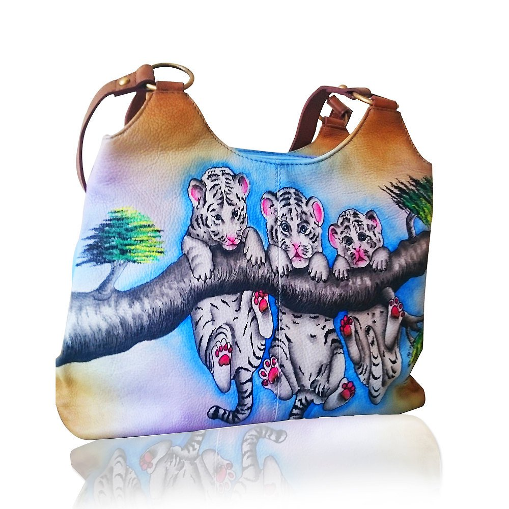 Authentic Leather Women's Shoulder Bag Handbag Hand Painted Tote Purse