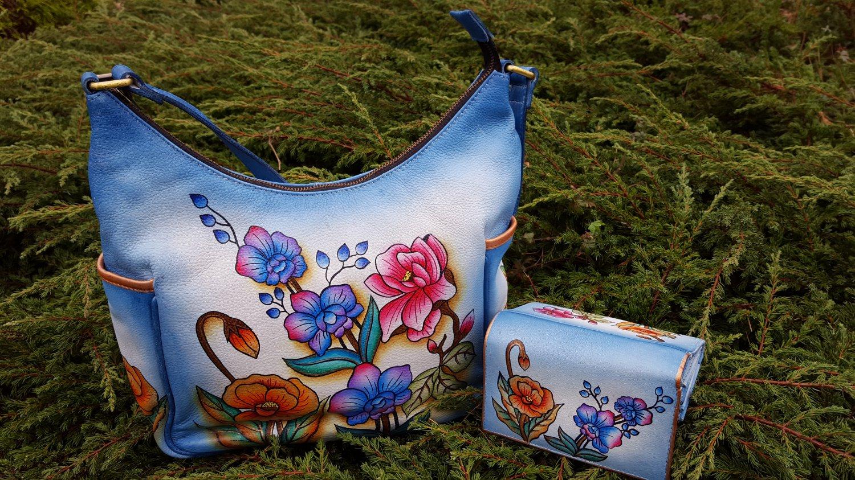 Genuine Leather Women's Handbag Hand Painted Handmade Shoulder Bag Hobo Tote,Satchel